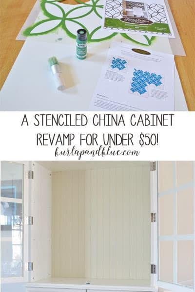 stencil a china cabinet