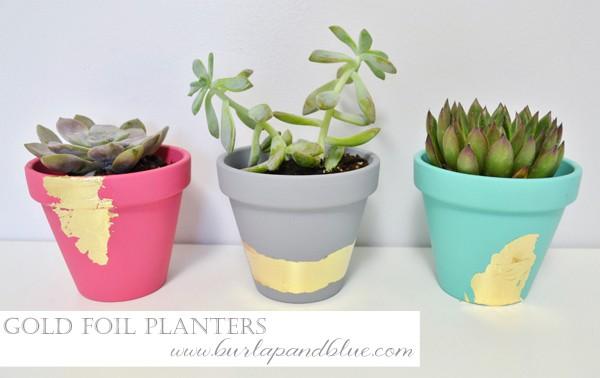 gold foil planters