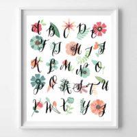 Floral Alphabet Wall Art Printable
