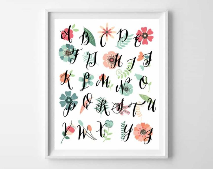 Floral Alphabet Wall Art Printable