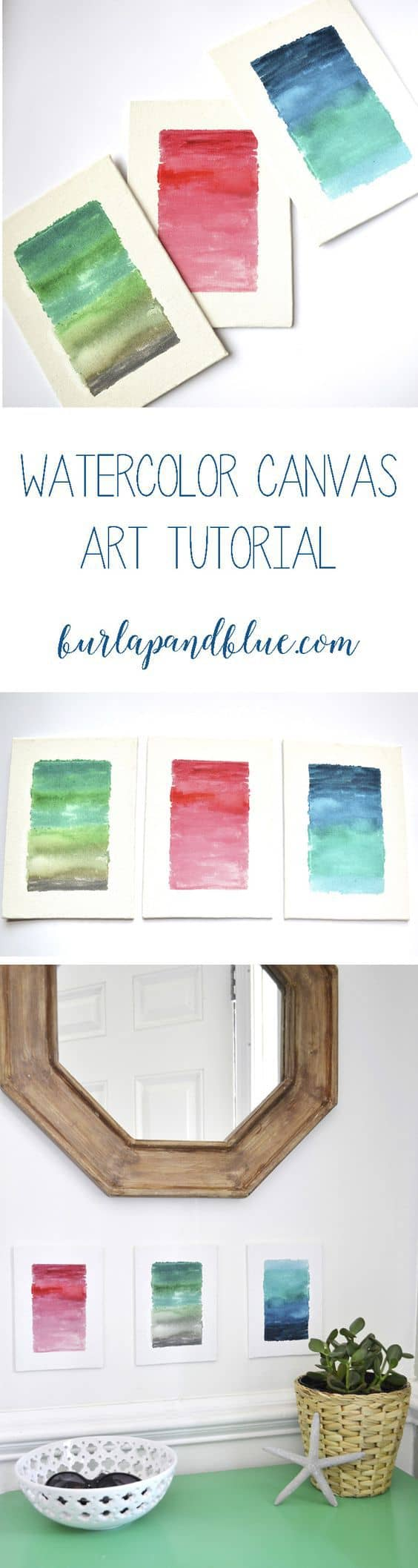 how to make watercolor canvases