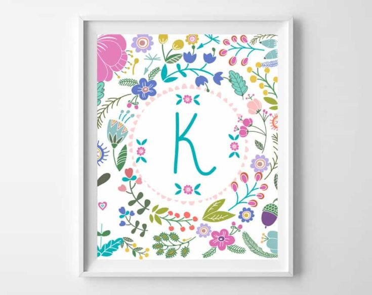 Free Printable Girl's Initial Printables