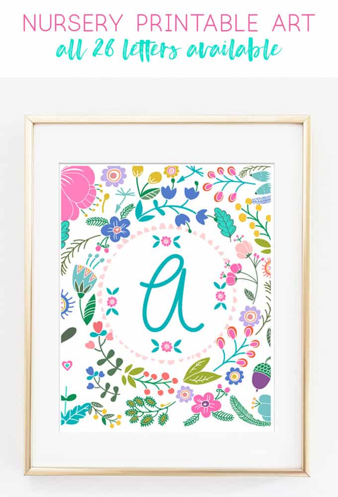 nursery decor | girl nursery | alphabet art | wall art | home decor | baby shower | free printables | kids printables | printable art