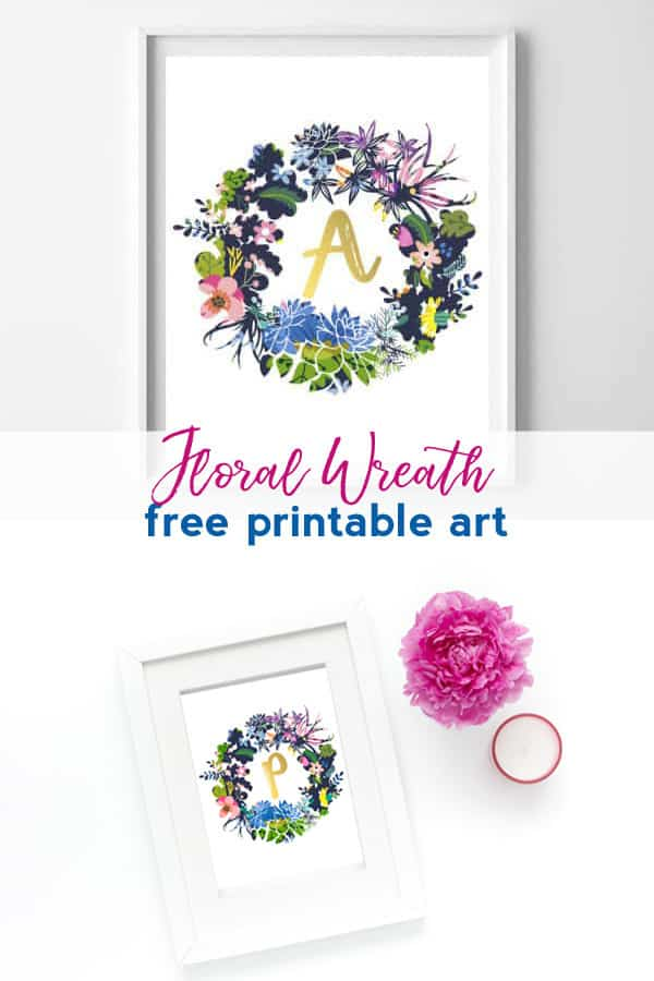 wreath art | name art | alphabet | free printables | printable art