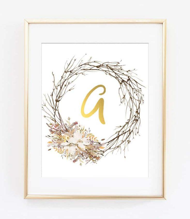 Wildflower Initial Printable Art
