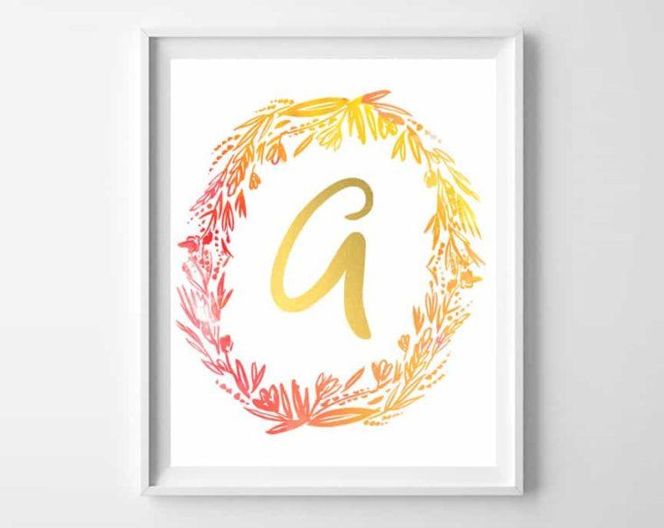 fall watercolor initial printables