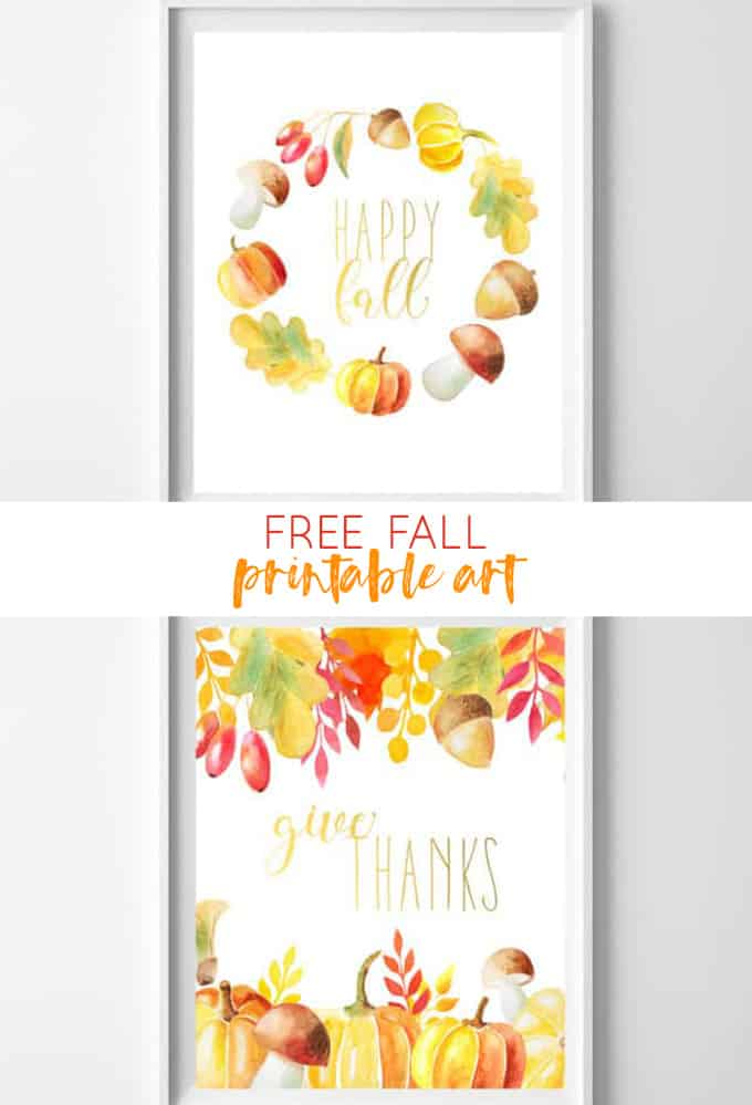 fall printable art | fall home decor | free printables | give thanks | fall art