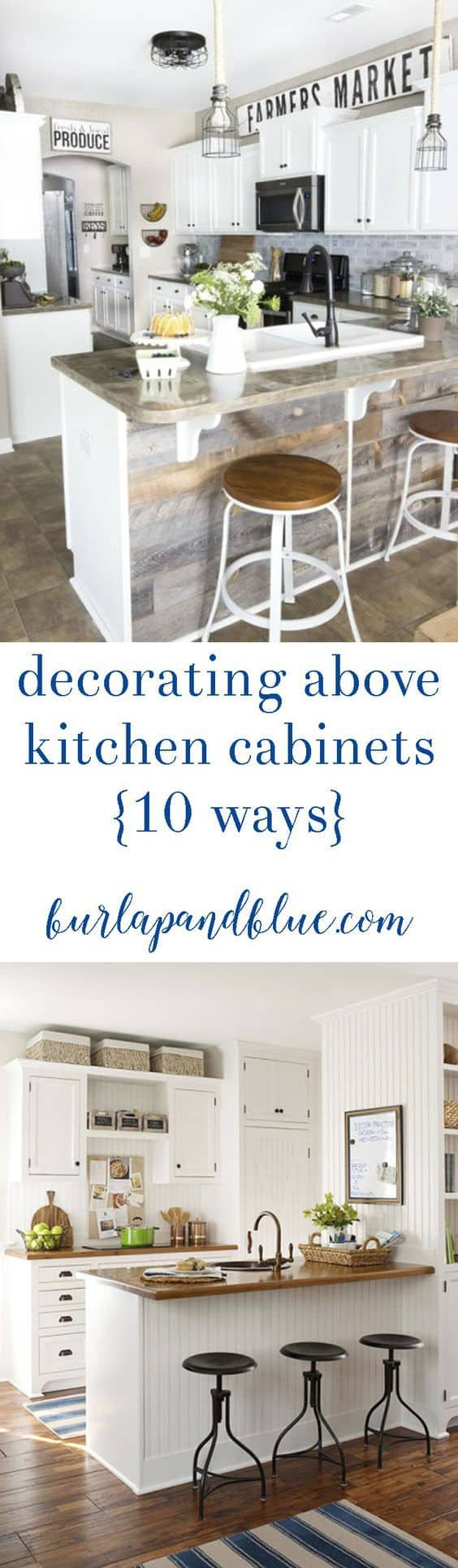 how to decorate above cabinets