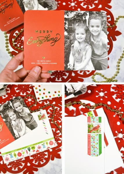 personalized holiday cards with tiny prints