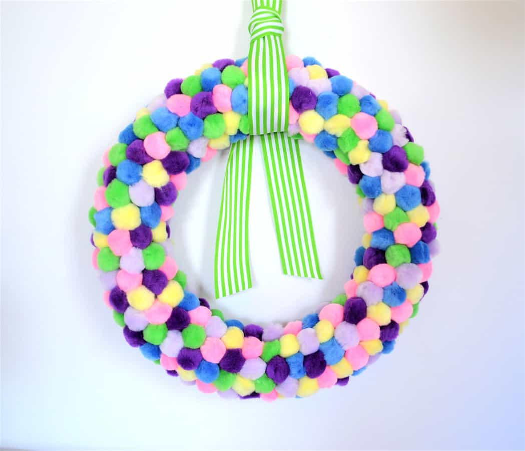 spring pom pom wreath