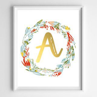 floral initial wreath printables