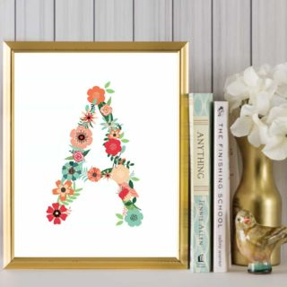 floral alphabet printable art