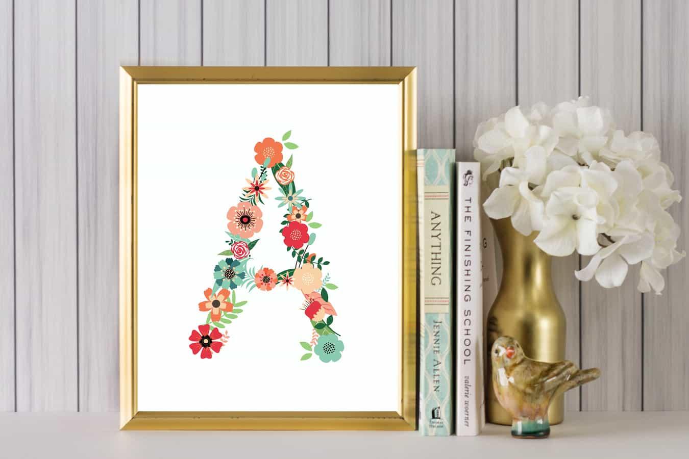 floral alphabet printable