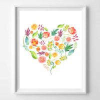 Floral Heart Free Printables