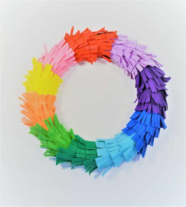Door Wreaths Ideas {Make a Rainbow Fringe Wreath}