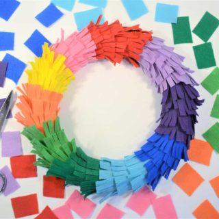 Door Wreaths Ideas {Make a Rainbow Fringe Wreath}