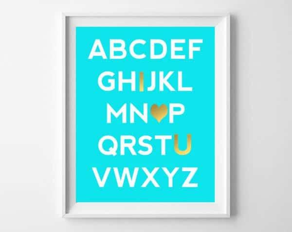 alphabet printable turquoise