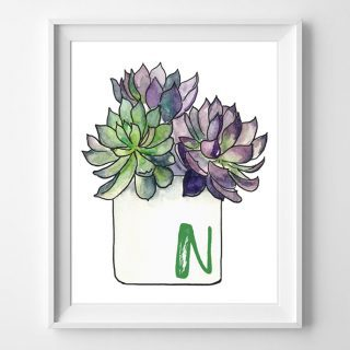 succulent printable art {all 26 initials available!}