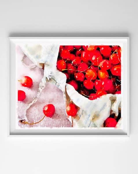 watercolor printable cherries