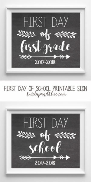 photograph relating to First Day of School Printable called very first working day of college or university printable signal 2017-2018