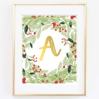 Christmas Initial Printable Art