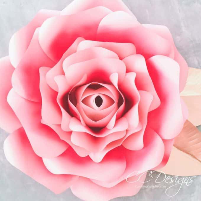 Giant paper flowers how to make paper garden roses with for Big flower paper template