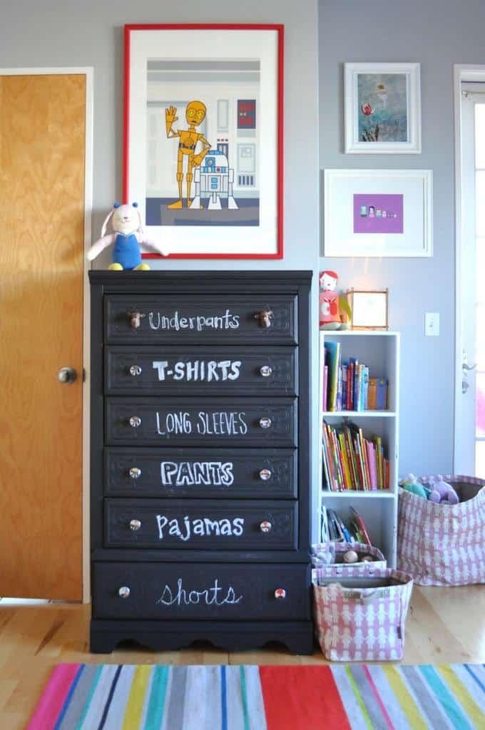 chalkboard painted dresser