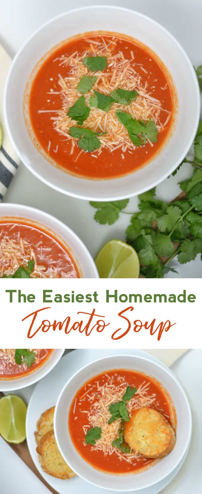 An easy homemade tomato soup recipe perfect for fall and winter. Homemade tomato soup is delicious and healthy. This is a favorite dinner recipe for our family!