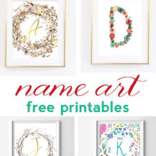Name Art and Alphabet Printables {Free Printable Art}