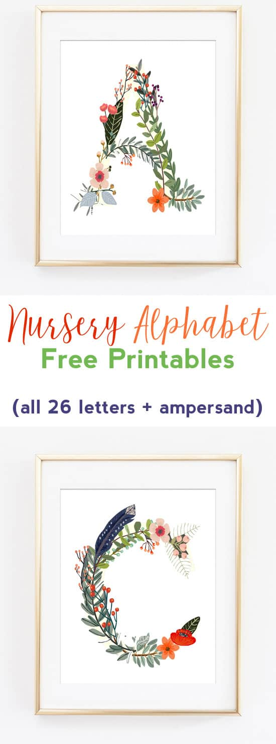 nursery alphabet free printables | nursery art | wall art ideas | woodland art