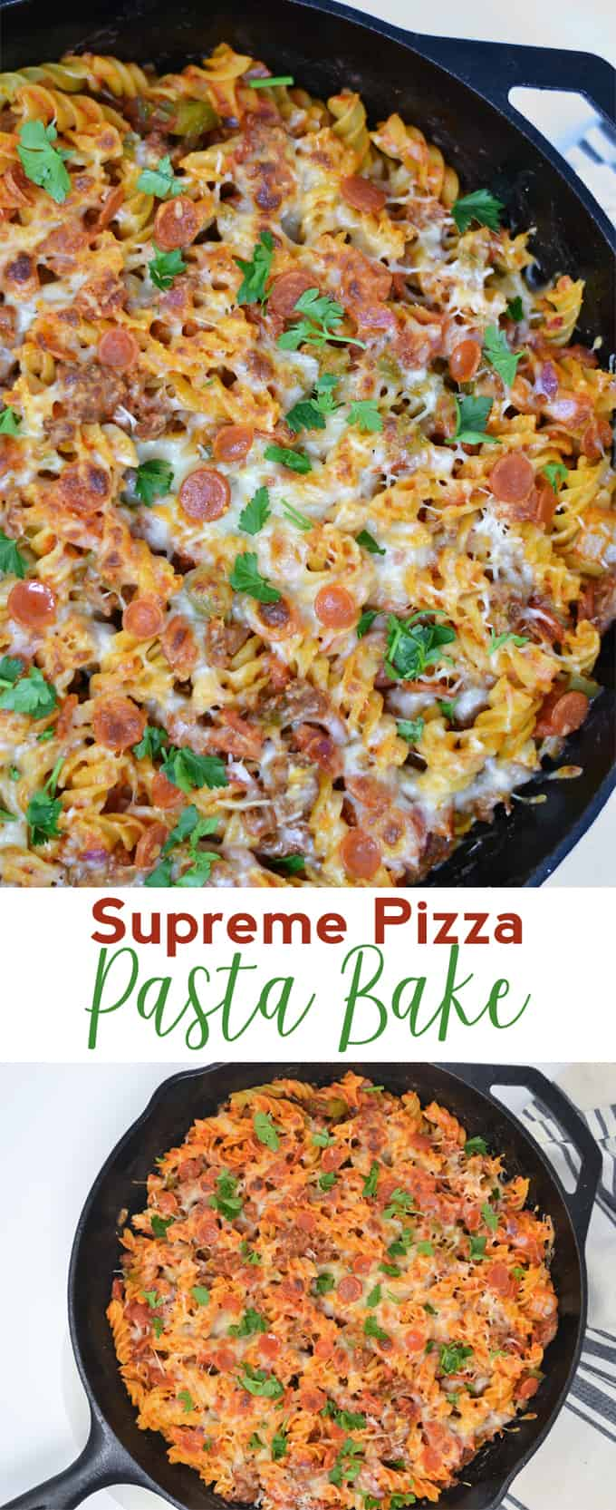 This Supreme Pizza Pasta Bake is an easy pasta recipe that is perfect for weeknight dinners or potlucks!