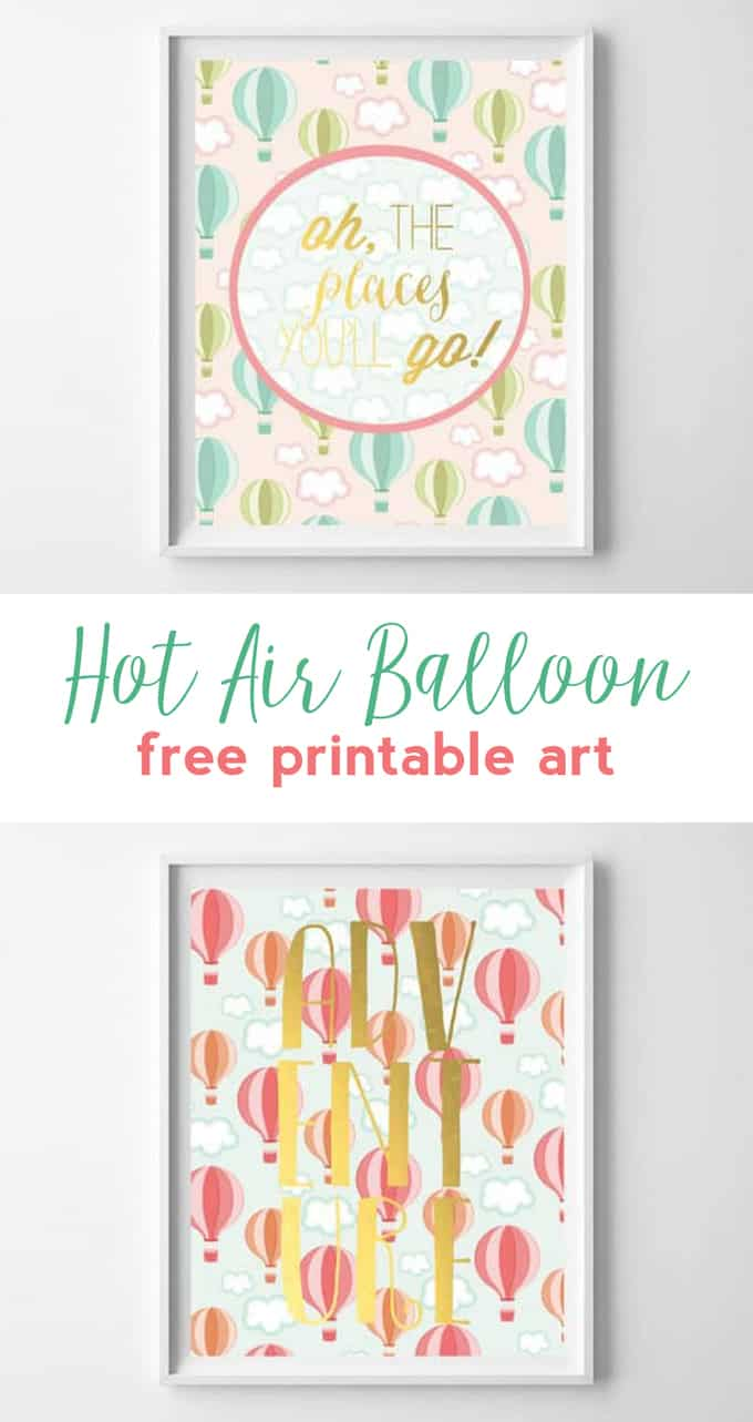 hot air balloon art | free printables | dr seuss | nursery wall art | girl nursery | wall decor