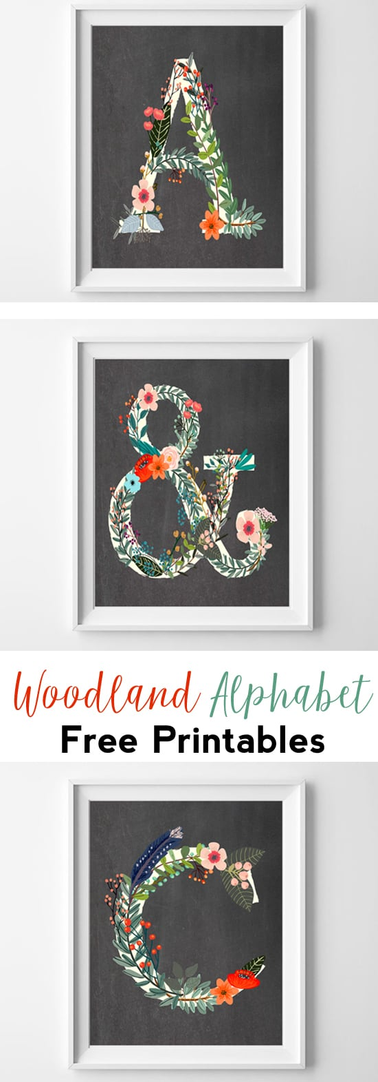 letter art | woodland alphabet | abc | free printables | initial art | nursery decor | wall art ideas