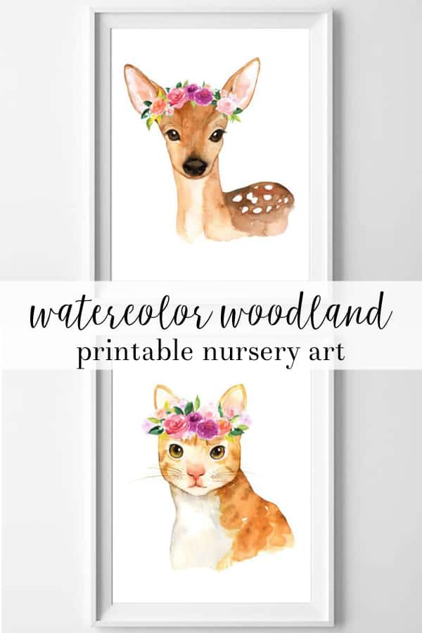 watercolor | woodland art | free printables | nursery wall art | nursery decor | girl nursery | deer art | cat decor | cat art