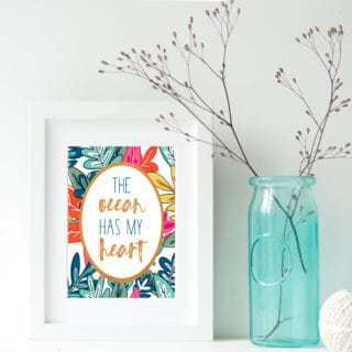Beach Decor Idea {Free Ocean-Themed Free Printable Art}