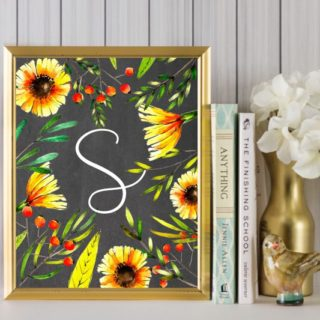 Sunflower Wall Art Idea {Free Sunflower Alphabet Printables}
