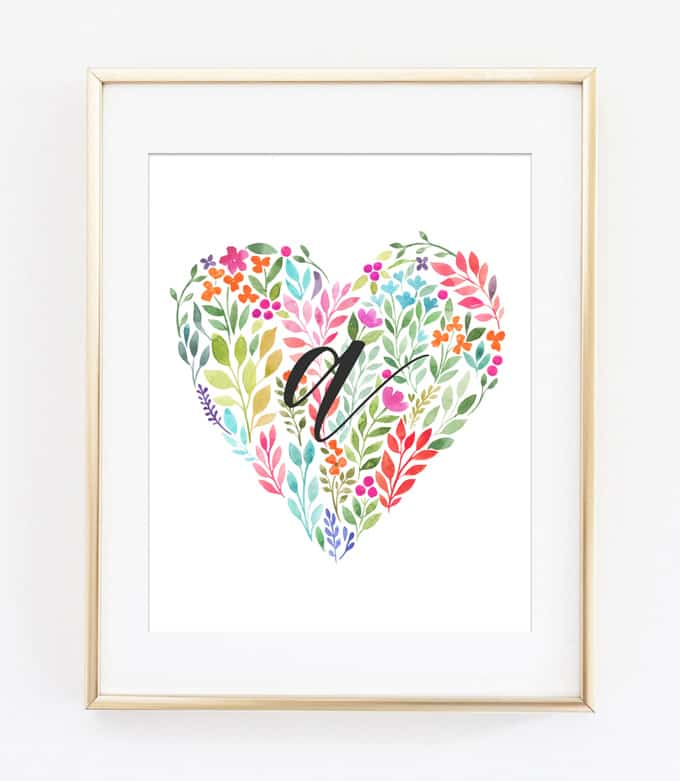 Heart Art Initial Printables {Girl Initial Wall Art Ideas}