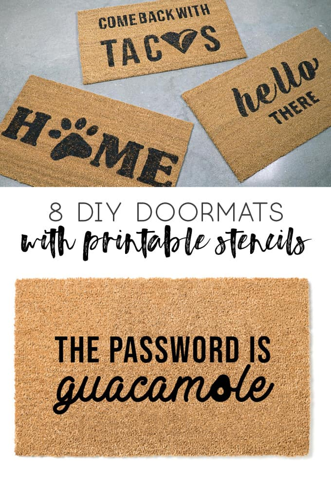 how to stencil a doormat | diy doormat | dog doormat | cat lover | guacamole | taco doormat | wine gifts | gifts for friends