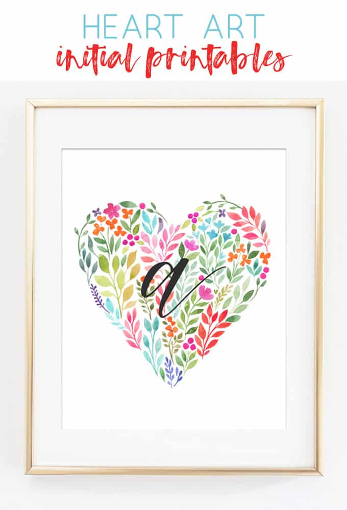 heart wall art | initial art | free printables | nursery decor | nursery wall art | girl nursery | printable art | watercolor | hearts | baby gift