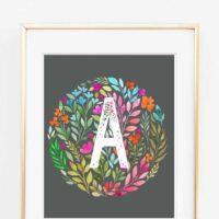 Watercolor Floral Initial Printable Art {Free Nursery Printables}
