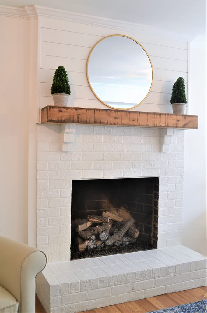 fireplace makeover white brick
