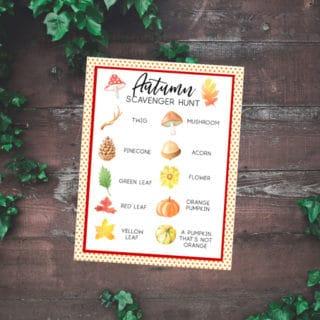 Fall Scavenger Hunt for Kids {Free Autumn Scavenger Hunt Printable}