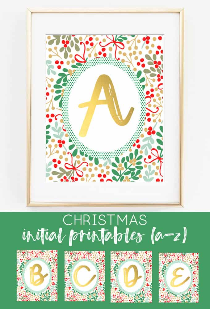christmas initial printables | christmas printables | free christmas printables | holly berries | gold | christmas decor | fixer upper | rustic | whimsical | cheap christmas gifts