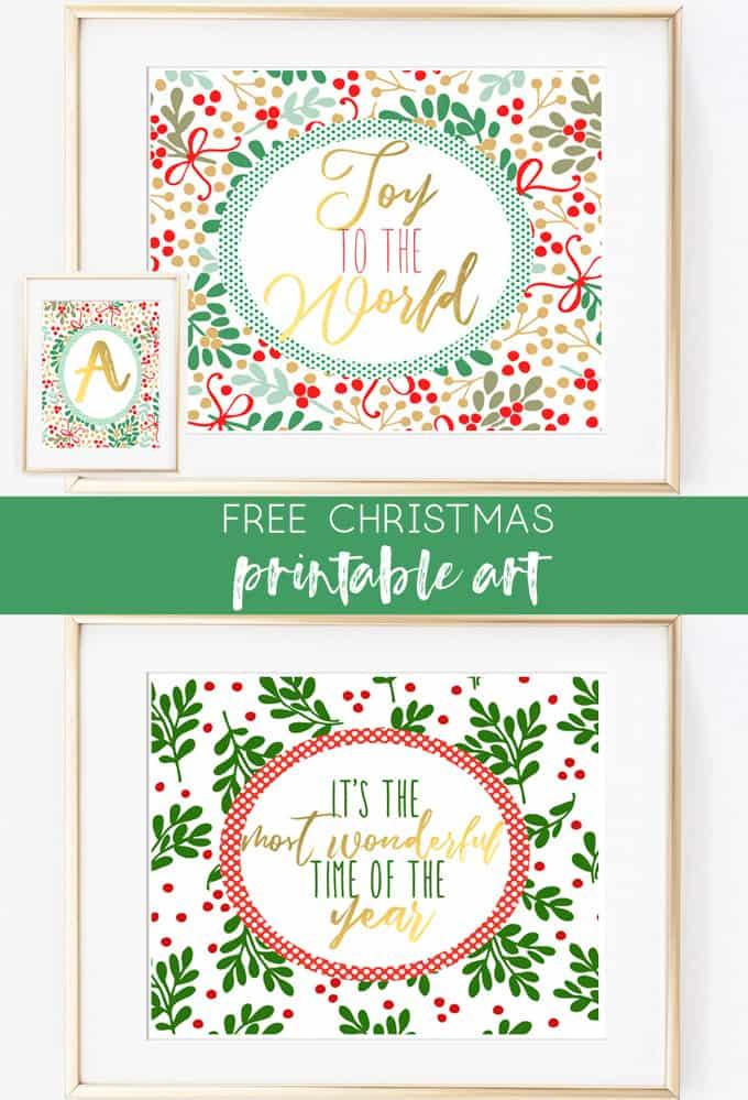 holiday printables | christmas art | christmas printables | joy to the world | whimsical | home decor | free printables