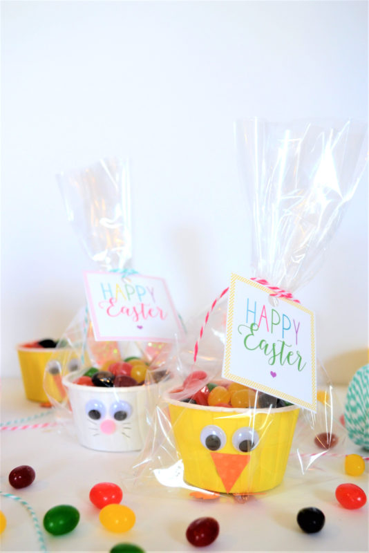 free printable easter tags + diy bunny and chick favors