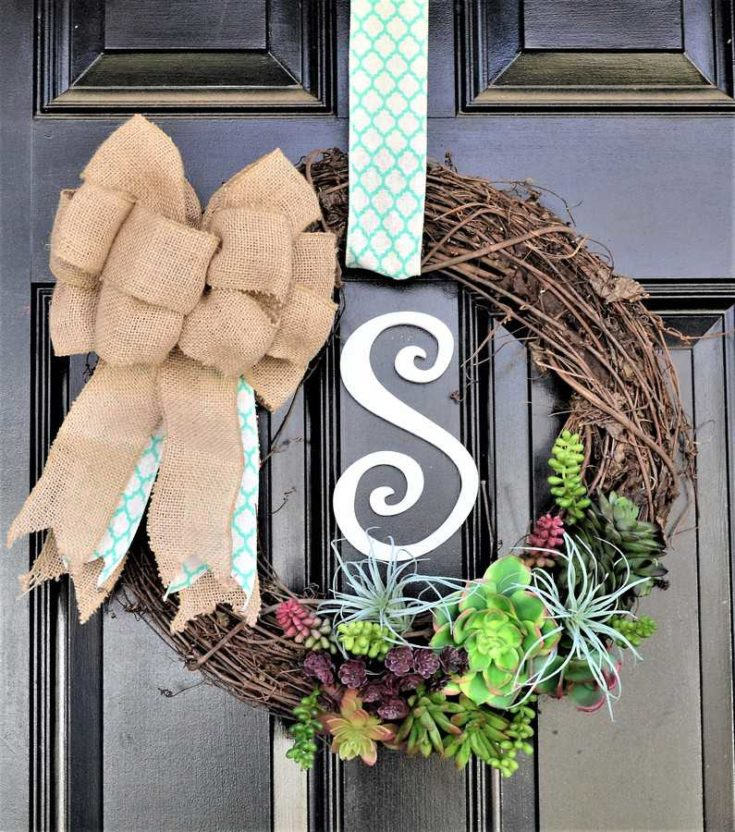 Succulent Wreath {How to Make a Spring Door Wreath}