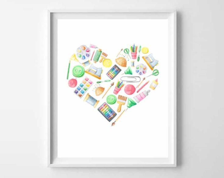 Watercolor Art Supplies Printables