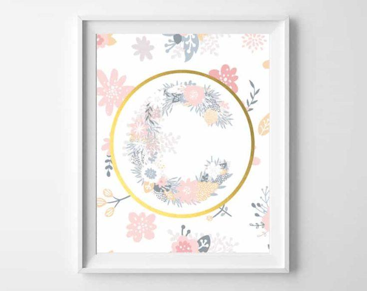 Floral Alphabet Printable Art