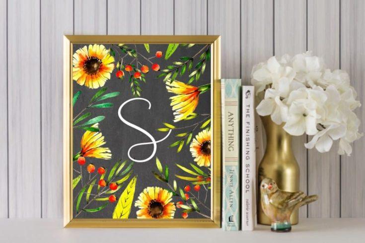 Sunflower Wall Art Idea {Free Sunflower Alphabet Printables}