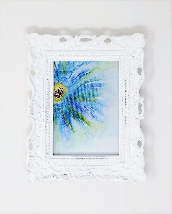 floral watercolor canvas in white frame 2
